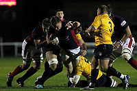 Kyle Whyte of London Scottish in action during the Championship Cup match between London Scottish Football Club and Yorkshire Carnegie at Richmond Athletic Ground, Richmond, United Kingdom on 4 October 2019. Photo by Carlton Myrie / PRiME Media Images