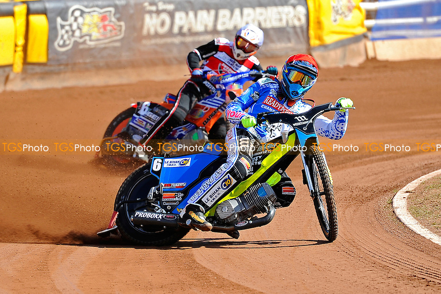 Heat 2 Adam Ellis of Poole Pirates leads Stefan Nielsen of Swindon Robins  during Poole Pirates vs Swindon Robins, Elite League Speedway at The Stadium on 25th March 2016