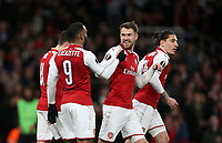 Arsenal's Aaron Ramsey is congratulated by Alexandre Lacazette after scoring his side's first goal<br /> <br /> Photographer Rob Newell/CameraSport<br /> <br /> UEFA Europa League Quarter-Final First Leg - Arsenal v CSKA Moscow - Thursday 5th April 2018 - The Emirates - London<br />  <br /> World Copyright &copy; 2018 CameraSport. All rights reserved. 43 Linden Ave. Countesthorpe. Leicester. England. LE8 5PG - Tel: +44 (0) 116 277 4147 - admin@camerasport.com - www.camerasport.com