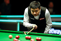 27th November 2019; York, England;  Ding Junhui of China looks for his shot during the first round match against Duane Jones of Wales at the UK Snooker Championship 2019 in York on Nov. 27, 2019.