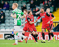 Wes Thomas of Grimsby Town is congratulated on scoring the first goal by Martyn Woolford of Grimsby Town during Yeovil Town vs Grimsby Town, Sky Bet EFL League 2 Football at Huish Park on 9th February 2019