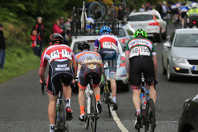 The tail end of the peloton on the first Cat 3 climb Loughcrew during Stage 1 of the 2017 An Post Ras running 146.1km from Dublin Castle to Longford, Ireland. 21st May 2017.<br /> Picture: Eoin Clarke | Cyclefile<br /> <br /> <br /> All photos usage must carry mandatory copyright credit (&copy; Cyclefile | Eoin Clarke)