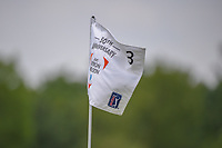 The Byron Nelson pin flag flaps in the Saturday morning wind during round 3 of the AT&amp;T Byron Nelson, Trinity Forest Golf Club, at Dallas, Texas, USA. 5/19/2018.<br /> Picture: Golffile | Ken Murray<br /> <br /> <br /> All photo usage must carry mandatory copyright credit (&copy; Golffile | Ken Murray)