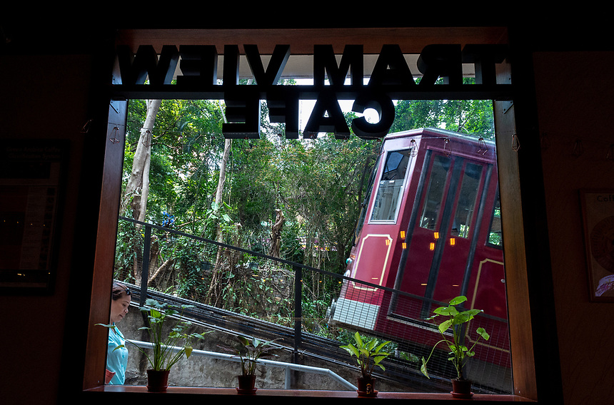 HONG KONG, CHINA - APRIL 01,2018: The Tram View cafe trackside by the Peak tram,The Peak Tram is the world's steepest funicular railway and over 120 years old..Jayne Russell/Alamy Stock Photo