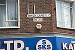 Street sign in English and Bengali, Brick Lane, London, E1, England