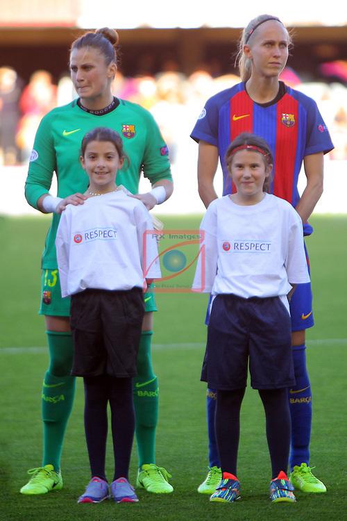 UEFA Women's Champions League 2016/2017.<br /> Quarter Finals.<br /> FC Barcelona vs FC Rosengard: 2-0.<br /> Sandra Pa&ntilde;os &amp; Line Roddik.