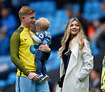 Kevin De Bruyne of Manchester City holds his son Mason alongside his partner Michele Lacroix during the English Premier League match at the Etihad Stadium, Manchester. Picture date: May 13th 2017. Pic credit should read: Simon Bellis/Sportimage