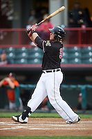 Erie SeaWolves designated hitter Dean Green (55) hits a home run during a game against the Bowie Baysox on May 12, 2016 at Jerry Uht Park in Erie, Pennsylvania.  Bowie defeated Erie 6-5.  (Mike Janes/Four Seam Images)