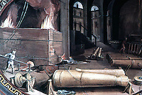Visual Arts:  Guns--Casting Bronze Cannon. Fresco by B. Poccetti, late XVI century.  Uffizi Museum.