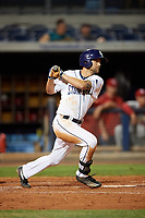 Charlotte Stone Crabs right fielder Nathan Lukes (4) follows through on a swing during a game against the Palm Beach Cardinals on April 11, 2017 at Charlotte Sports Park in Port Charlotte, Florida.  Palm Beach defeated Charlotte 12-6.  (Mike Janes/Four Seam Images)