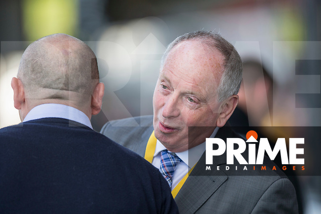 Newport adviser Lennie Lawrence speaks with Accrington Stanley manager John Coleman ahead of the Sky Bet League 2 match between Newport County and Accrington Stanley at Rodney Parade, Newport, Wales on 22 April 2017. Photo by Mark  Hawkins.