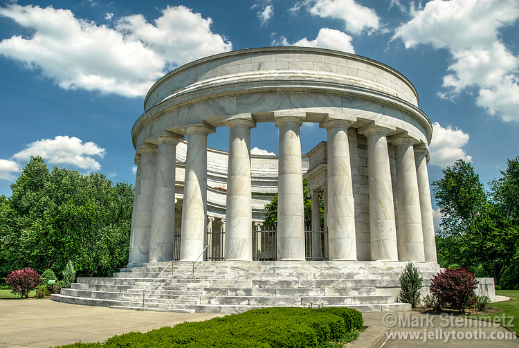 The Harding Tomb, also known as the Harding Memorial, is the burial location of the 29th President of the United States, Warren G. Harding and First Lady Florence Kling Harding. The columns are built of Georgia white marble in the style of a classical Greek temple. Marion, Ohio, USA.
