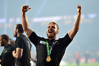 Sam Cane of New Zealand celebrates with the crowd after the match. Rugby World Cup Final between New Zealand and Australia on October 31, 2015 at Twickenham Stadium in London, England. Photo by: Patrick Khachfe / Onside Images