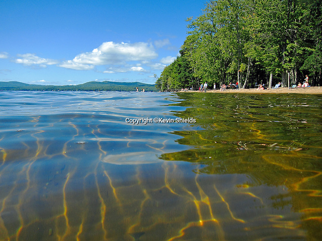 A beach at Sebago Lake State Park, Naples, Maine, USA
