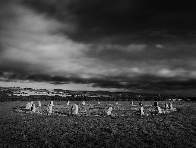 The Merry Maidens, a stone circle from the Bronze Age, in Penwith, West Cornwall.