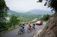 succesfull early breakaway group consisting of: Julian Alaphilippe (FRA/Deceuninck - Quick-Step), Gregor Mühlberger (AUT/Bora-Hansgrohe) & Alessandro De Marchi (ITA/CCC) up the Col de la Chambotte<br /> <br /> Stage 6: Saint-Vulbas to Saint-Michel-de-Maurienne (228km)<br /> 71st Critérium du Dauphiné 2019 (2.UWT)<br /> <br /> ©kramon
