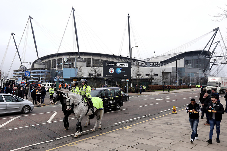 A general view of The Etihad, home of Manchester City<br /> <br /> Photographer Rich Linley/CameraSport<br /> <br /> UEFA Champions League Quarter-Final Second Leg - Manchester City v Liverpool - Tuesday 10th April 2018 - The Etihad - Manchester<br />  <br /> World Copyright &copy; 2017 CameraSport. All rights reserved. 43 Linden Ave. Countesthorpe. Leicester. England. LE8 5PG - Tel: +44 (0) 116 277 4147 - admin@camerasport.com - www.camerasport.com