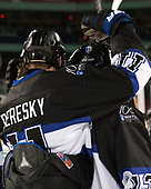 Tyler Deresky (Bentley - 11), Andrew McDonald (Bentley - 13) - The Bentley University Falcons defeated the Army West Point Black Knights 3-1 (EN) on Thursday, January 5, 2017, at Fenway Park in Boston, Massachusetts.The Bentley University Falcons defeated the Army West Point Black Knights 3-1 (EN) on Thursday, January 5, 2017, at Fenway Park in Boston, Massachusetts.