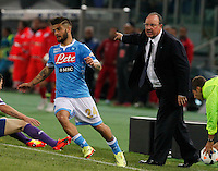 Rafael Benitez  Lorenzo Insigne  during the the Italian Cup final soccer match between Napoli and  Fiorentina at the Olympic stadium in Rome May 3, 2014