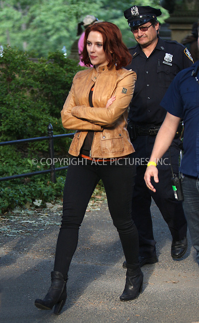 WWW.ACEPIXS.COM . . . . .  ....September 2 2011, New York City....Actress Scarlett Johansson on the Central Park set of the new movie 'The Avengers' on September 2 2011 in New york City....Please byline: PHILIP VAUGHAN - ACE PICTURES.... *** ***..Ace Pictures, Inc:  ..Philip Vaughan (212) 243-8787 or (646) 679 0430..e-mail: info@acepixs.com..web: http://www.acepixs.com