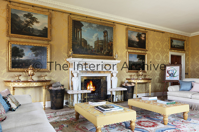 The drawing room walls are covered in a silk damask with some wool content to dull the golden sheen down for a more authentic older feel to the room