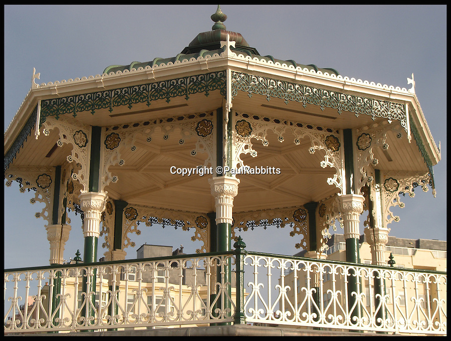 BNPS.co.uk (01202 558833)<br /> Pic: PaulRabbitts/BNPS<br /> <br /> ***Please Use Full Byline***<br /> <br /> The Birdcage, West Pier, Brighton was built in 1884 and still stands today. <br /> <br /> A landscape gardener is trumpeting the great British creation of the bandstand after touring the country's parks to study the iconic structures for a new book.<br /> <br /> Paul Rabbitts' work is a celebration of the Victorian platforms and a throwback to the halycon days of outdoor music when thousands of people would gather in public parks for a brass band performance.
