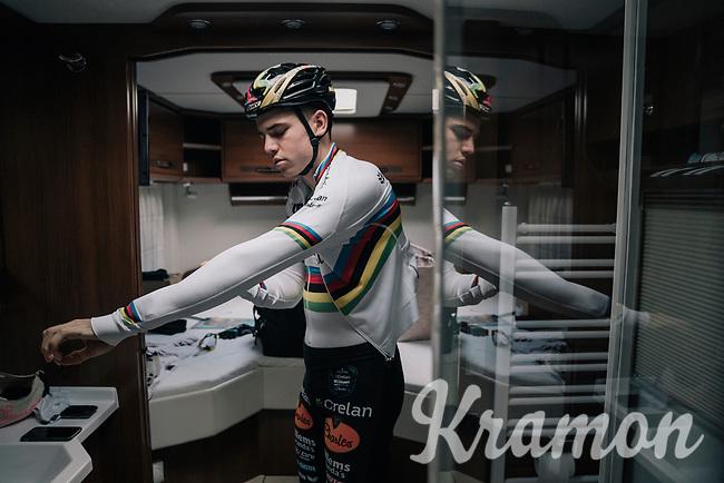 CX world champion Wout Van Aert (BEL/Crelan-Charles) getting race-ready in his camper van pre-race<br /> <br /> Super Prestige Ruddervoorde / Belgium 2017