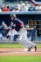 Boston Red Sox outfielder Jonny Gomes #5 during a Grapefruit League Spring Training game against the Tampa Bay Rays at Charlotte County Sports Park on February 25, 2013 in Port Charlotte, Florida.  Tampa Bay defeated Boston 6-3.  (Mike Janes/Four Seam Images)