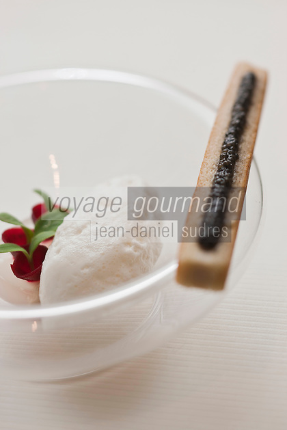 Europe/France/Aquitaine/33/Gironde/Médoc/Pauillac: Transparence d'huître Gillardeau avec son nuage iodé et caviar de la Gironde,  recette de Jean-Luc Rocha -  Château Cordeillan-Bages