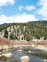 Richard Friedland fly fishing near Colorado Springs, Colorado, Monday, May 4, 2015. <br /> <br /> Photo by Matt Nager