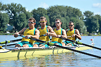 Poznan, POLAND,  AUS M4-, bow, Matthew RYAN, James MARBURG, Cameron MCKENZIE MCHARG and Francis HEGERTY, competing in the heats of the men's four, on the first day of the, 2009 FISA World Rowing Championships. held on the Malta Rowing lake, Sunday 23/08/2009 [Mandatory Credit. Peter Spurrier/Intersport Images]