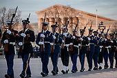 Members of a joint service honor guard at the US Capitol prior to the service for former President George H. W. Bush in Washington, DC, USA, 03 December 2018. Bush will lie in state in the Capitol Rotunda before his state funeral at the Washington National Cathedral 05 December. George H.W. Bush, the 41st President of the United States (1989-1993), died at the age of 94 on 30 November 2018 at his home in Texas.