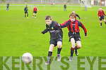 Kingdom Boys Mike Kelliher and Mastergeeha FC's Cormac O'Connor.