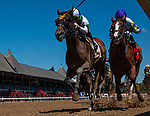 July 31, 2020: Stylish Rags #2, ridden by Jose Ortiz outlasts Doyouknowwhoiam #1, ridden by Jose Lezcano to win the first race on July 31 at Saratoga Race Course in Saratoga, New York. Rob Simmons/Eclipse Sportswire/CSM