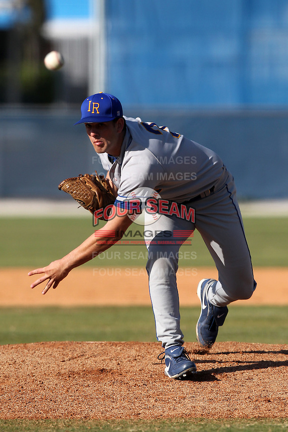 Indian River State College pitcher Robert Marcello (3) during a game vs. the State College of Florida Manatees at Robert C. Wynn Field in Bradenton, Florida;  February 22, 2011.  SCF defeated Indian River 3-0.  Photo By Mike Janes/Four Seam Images
