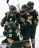 Taylor Willard (UVM - 27), Sammy Kolowrat (UVM - 4), Éve-Audrey Picard (UVM - 26), Saana Valkama (UVM - 24) -  The Boston College Eagles defeated the University of Vermont Catamounts 4-3 in double overtime in their Hockey East semi-final on Saturday, March 4, 2017, at Walter Brown Arena in Boston, Massachusetts.