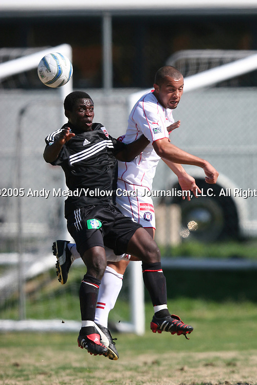 "10 April 2005: Nana Kuffour (l) and Leonard Griffin (r) challenge for a header. DC United Reserves defeated the Chicago Fire Reserves 4-1 at RFK Stadium's Auxilary Field in Washington, DC in the first ever Major League Soccer ""Reserve Match"" for both teams.."