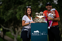 Sergio Garcia (ESP), pictured with wife Angela and baby girl Azalea, wins his 3rd Valderrama Masters at the end of Monday's storm delayed Final Round 3 of the Andalucia Valderrama Masters 2018 hosted by the Sergio Foundation, held at Real Golf de Valderrama, Sotogrande, San Roque, Spain. 22nd October 2018.<br /> Picture: Eoin Clarke | Golffile<br /> <br /> <br /> All photos usage must carry mandatory copyright credit (&copy; Golffile | Eoin Clarke)