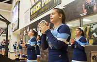 NWA Democrat-Gazette/CHARLIE KAIJO Springdale Har-Ber High School cheerleaders cheer during a basketball game on Friday, January 12, 2018 at Bentonville High School in Bentonville.