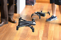 Drones in action at a product launch marketing event.