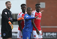 Fleetwood Town's Devante Cole closely marked by Oldham Athletic's Gevaro Nepomuceno as they wait for a corner kick<br /> <br /> Photographer Stephen White/CameraSport<br /> <br /> The EFL Sky Bet League One - Fleetwood Town v Oldham Athletic - Saturday 9th September 2017 - Highbury Stadium - Fleetwood<br /> <br /> World Copyright &copy; 2017 CameraSport. All rights reserved. 43 Linden Ave. Countesthorpe. Leicester. England. LE8 5PG - Tel: +44 (0) 116 277 4147 - admin@camerasport.com - www.camerasport.com