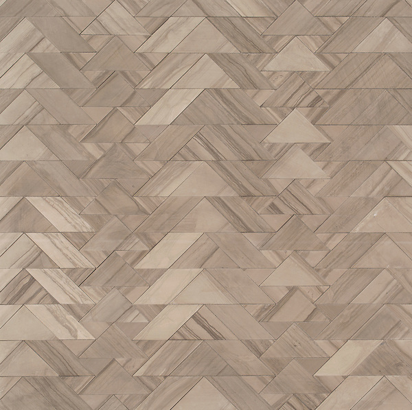 Echo, a waterjet mosaic, shown in honed Driftwood, is part of the Miraflores collection by Paul Schatz for New Ravenna.