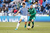 7th January 2018, Estadio Municipal de Butarque, Legales, Spain; La Liga football, Leganes versus Real Sociedad; Nabil El Zhar (Leganes FC) challenges Xabi Prieto  (Real Sociedad)