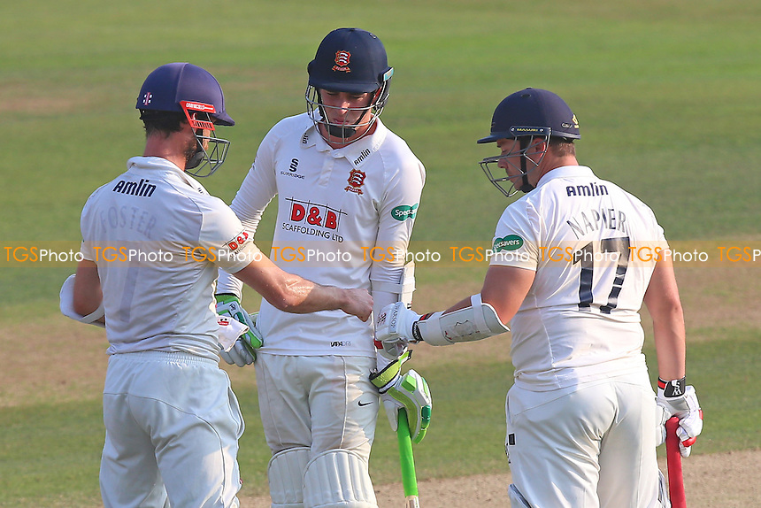 James Foster (L), Graham Napier (R) and his runner Daniel Lawrence out in the middle for Essex during Essex CCC vs Glamorgan CCC, Specsavers County Championship Division 2 Cricket at the Essex County Ground on 15th September 2016