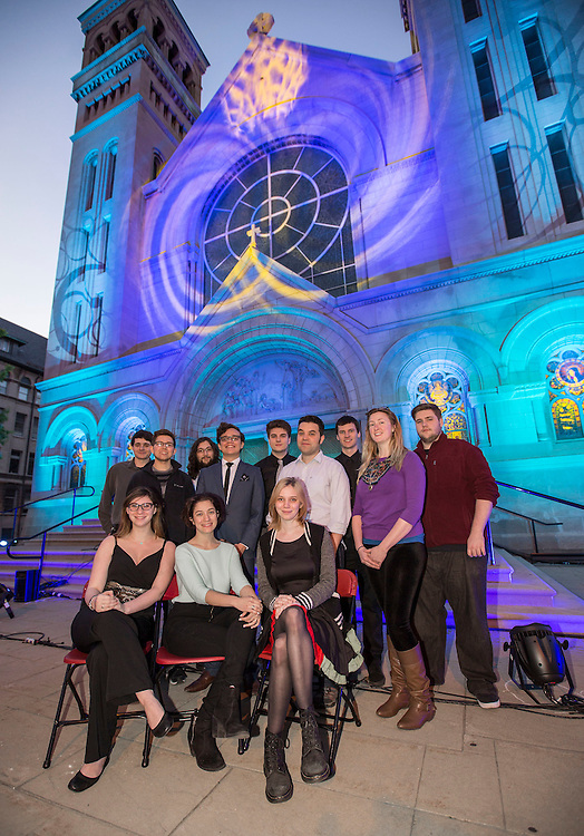 Lighting design students from The Theatre School at DePaul University illuminated the exterior of the St. Vincent de Paul Parish Church Thursday, May 21, 2015 with their lighting projects. The students worked with alumni Paul Gregory, Focus Lighting, NYC and Chris Prezas, Protolight, Inc. to create story-telling visuals that paid homage to artist like Leonid Afremov, LaGasse, Mary-Anne Papanek Miller and Van Gogh.   (DePaul University/Jamie Moncrief)