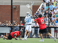 Baltimore, MD - April 28, 2018: Johns Hopkins Blue Jays Jared Reinson (87) passes the ball during game between John Hopkins and Maryland at  Homewood Field in Baltimore, MD.  (Photo by Elliott Brown/Media Images International)