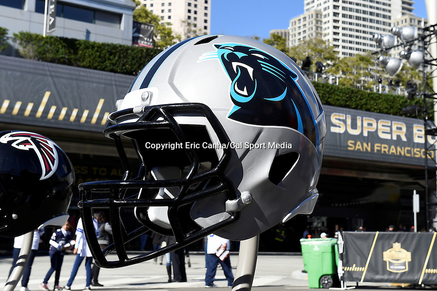 Sunday, January 31, 2016: An oversized Carolina Panthers helmet on display at the NFL Fan Zone during the week long NFL Super Bowl 50 celebration  in San Francisco, California. Eric Canha/CSM