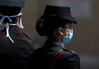 An Italian Carabinieri wearing face mask  stands in Saint Peter square before Pope Francis delivers his blessing from the window of the Apostolic palace overlooking an empty St Peter' Square, after his live-streamed Angelus prayer on May 10, 2020 at the Vatican. St Peter' square is closed off to the public due to the novel coronavirus, COVID-19, pandemic.<br /> UPDATE IMAGES PRESS/Isabella Bonotto<br /> <br /> STRICTLY ONLY FOR EDITORIAL USE
