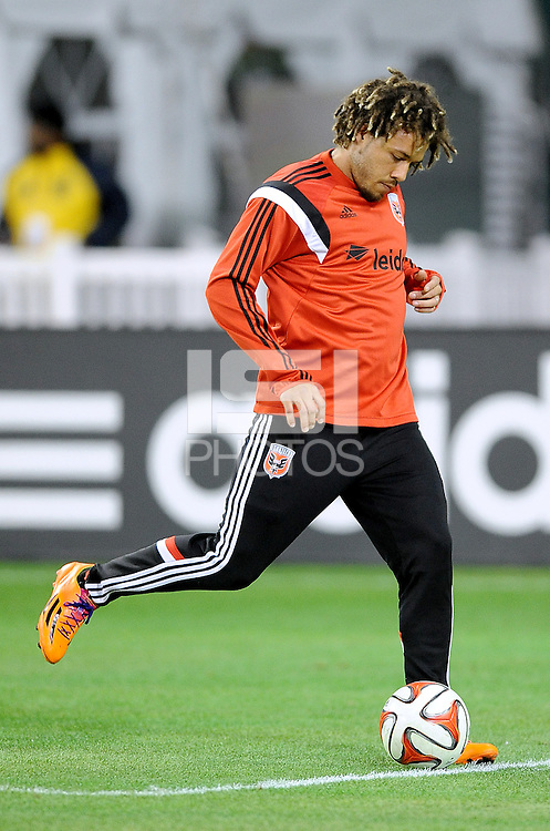 Washington D.C. - March 8, 2014: Nick DeLeon (14) of D.C. United.  The Columbus Crew defeated D.C. United 3-0 during the opening game of the 2014 season at RFK Stadium.