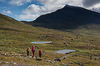 Hikers on trail south of Singi hut, Kungsleden trail, Lapland, Sweden